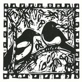 Maggie Kendis black and white lino print of Magpies